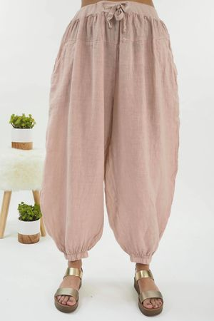 Linen Cuffed Cocoon Pant Blush