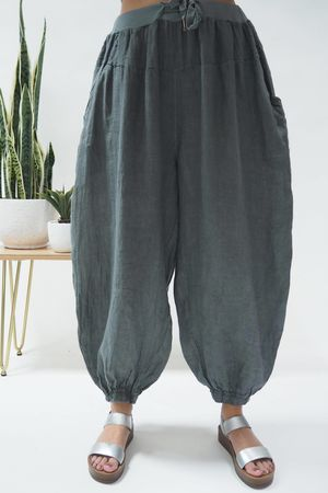Linen Cuffed Cocoon Pant Graphite