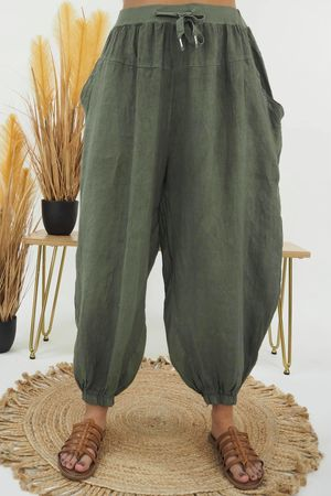 Linen Cuffed Cocoon Pant Khaki