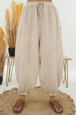 Linen Cuffed Cocoon Pant Stone