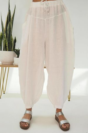 Linen Cuffed Cocoon Pant White