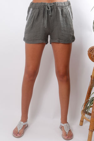 Linen Diamante Shorts Khaki