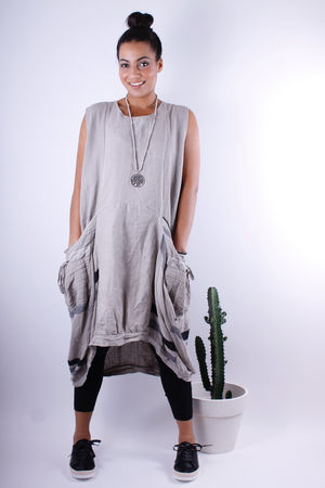 Linen & Hopsack Dip Side Pocket Tunic