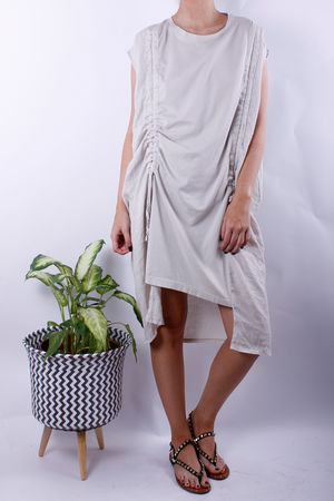 Linen & Jersey Rouche Up Tunic Oat