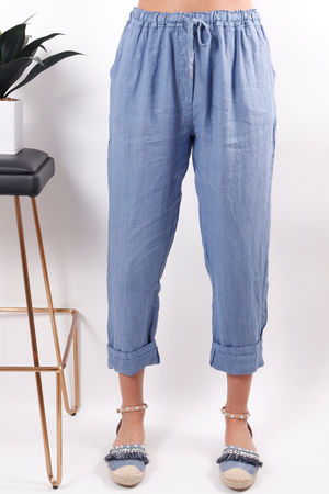 Made In Italy Linen Pant Deep Denim