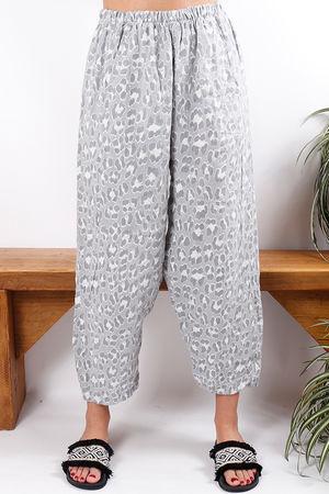 Linen Pant Grey Leopard