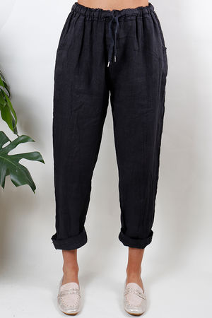 Made In Italy Linen Pant Deep Charcoal