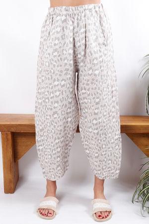 Linen Pant Stone Leopard