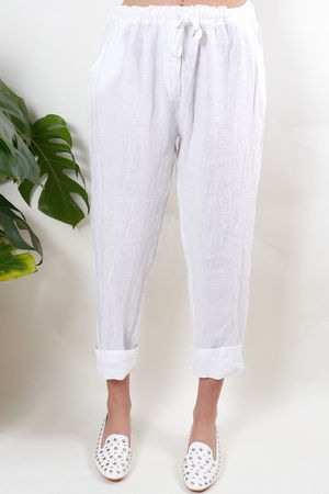 Classic Made In Italy Linen Pant Deep White