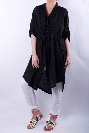 Linen Pull Tie Shirt Dress Black