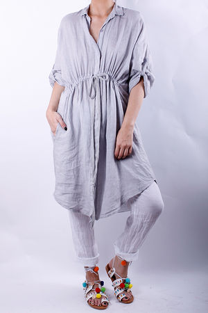 Linen Pull Tie Shirt Dress Dove Grey