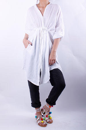 Linen Pull Tie Shirt Dress White