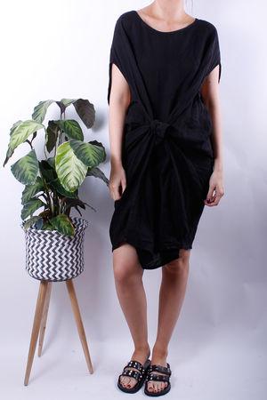 Linen Tie Front Cocoon Dress Black