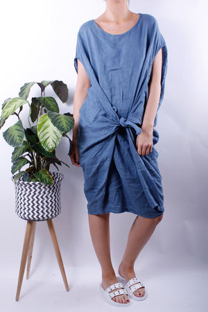Linen Tie Front Cocoon Dress Denim