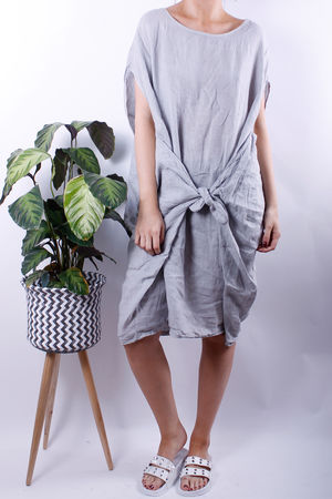 Linen Tie Front Cocoon Dress Dove Grey