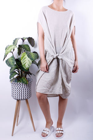 Linen Tie Front Cocoon Dress Oat