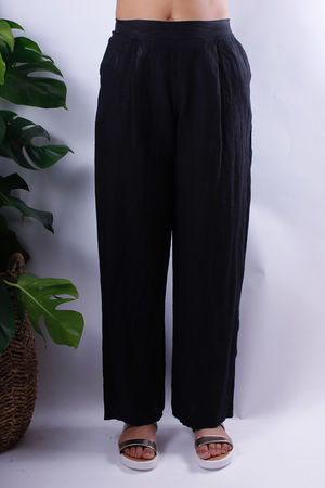 Linen Wide Leg Trousers Black