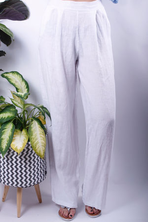 Linen Wide Leg Trousers White