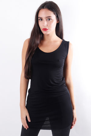 Long Basic Layering Vest Black