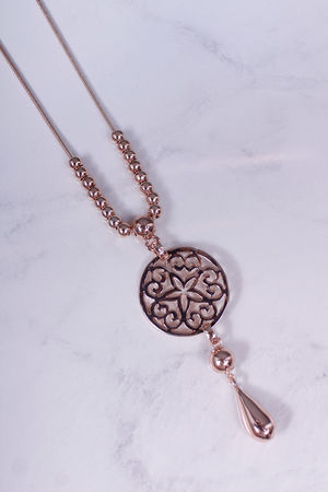 Long Bead & Sun Disc Necklace Rose Gold
