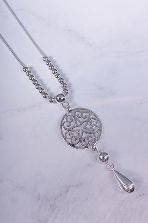 Long Bead & Sun Disc Necklace Silver