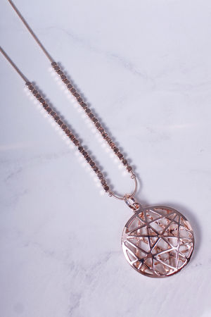 Long Beaded Mixed Star Necklace Rose Gold