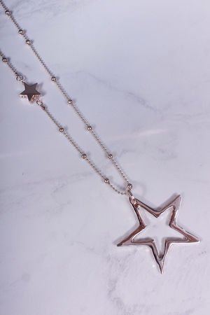 Long Beaded Star Necklace Rose Gold