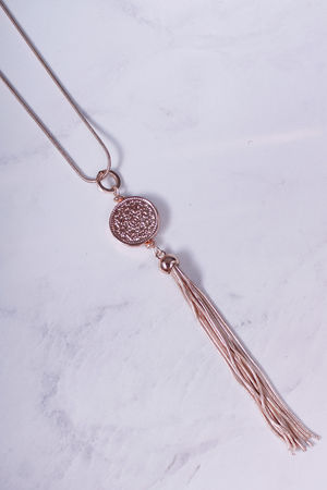 Long Coin & Tassel Necklace Rose Gold