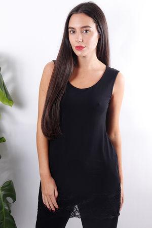 Long Lace Hem Vest Black