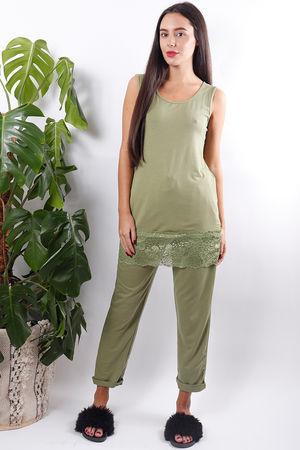 Long Lace Hem Vest Green