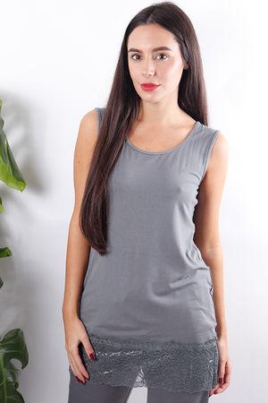 Long Lace Hem Vest Slate