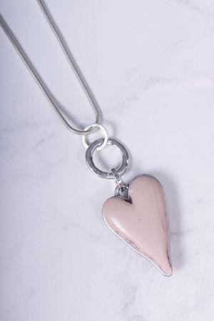 Long Large Heart Necklace Blush