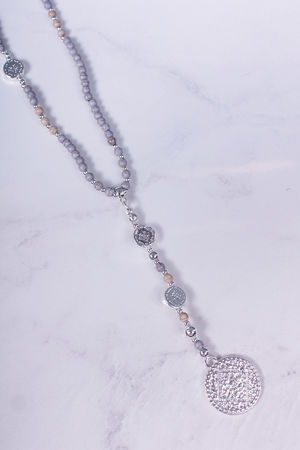 Long Monica Drop Coin Beaded Necklace Washed Grey & Silver