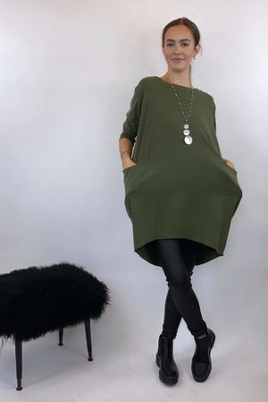 Longline Pocketed Cocoon Top Khaki