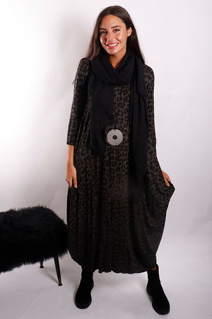 Lounge Leopard 3/4 Sleeve Parachute Dress Graphite