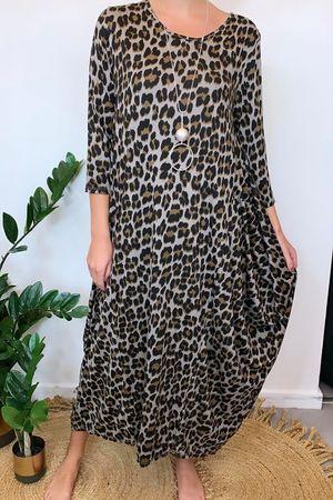 Lounge Leopard 3/4 Sleeve Parachute Dress Mocha