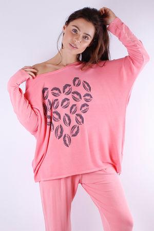 Love Heart Lip Printed Zip Sweat Ibiza Sunrise