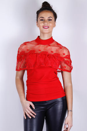 Lucille Cap Sleeve Lace Top Red