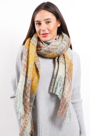 Luxury Super Soft Fringe Scarf Tarten Mint Mocha Mustard
