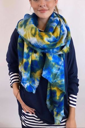 Luxury Tie Dye Raw Edge Wool Scarf Blues & Yellows