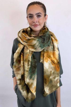 Luxury Tie Dye Raw Edge Wool Scarf Khaki & Mustards