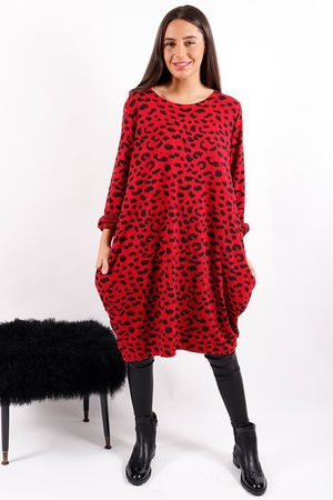Made In Italy Animal Cocoon Tunic Red