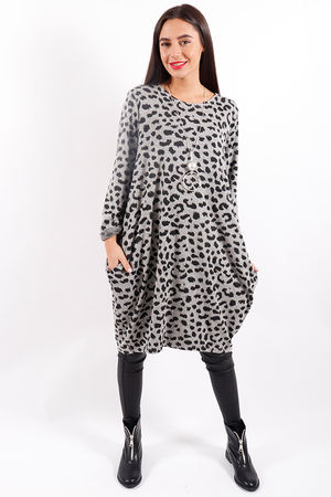 Made In Italy Animal Cocoon Tunic Steel