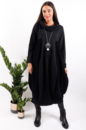 Made In Italy Baby Cord Cowl Dress Black