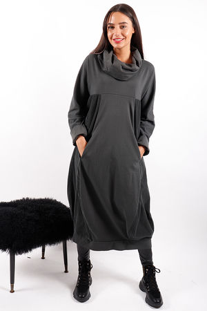 Made In Italy Baby Cord Cowl Dress Graphite