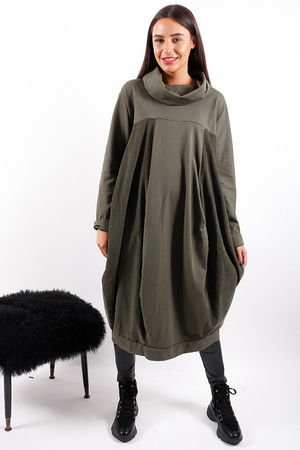 Made In Italy Baby Cord Cowl Dress Khaki