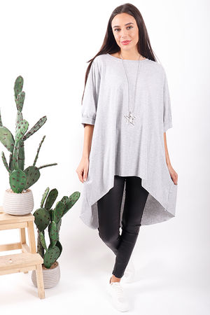 Made In Italy Basic Oversized Archie Slouch Tee Grey Marl