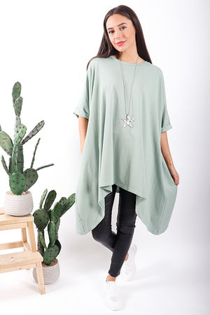 Made In Italy Basic Oversized Dip Side Tee Sage