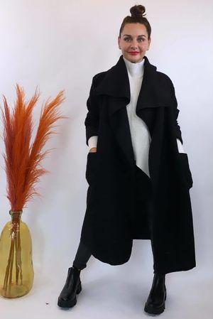 Made In Italy Black Wool Coatigan
