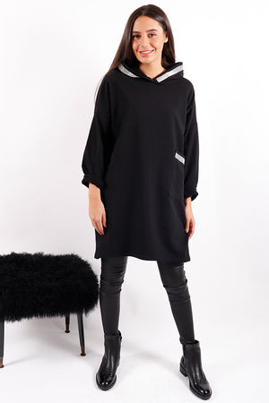 Made In Italy Bling Hooded Tunic Black